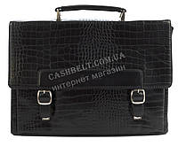 Стильный деловой мужской портфель с качественной PU кожи под рептилию CANTLOR art. 373-14 черный