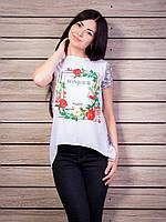 Блуза женская комбинированная с цветочным принтом p.42-50 VM1939-1