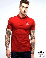 Тенниска для парня поло из хлопка с принтом  Adidas Адидас красная футболка