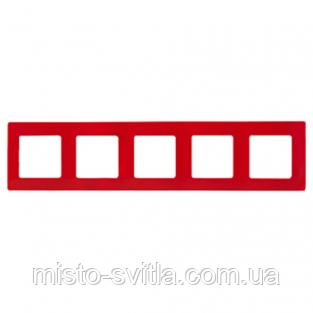Рамка 5-постовая, красный, Legrand Etika Легранд Этика