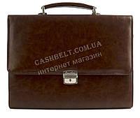 Стильный деловой мужской портфель с качественной PU кожи CANTLOR art. 6025-63 коричневый