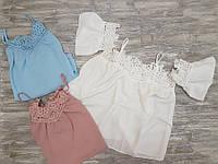 Блузка летняя легкая белая, голубая и пудра 898