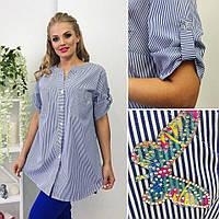 Комфортная женская льняная рубашка размер 52,54,56