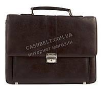 Стильный деловой мужской портфель с качественной PU кожи CANTLOR art. 406B-02 коричневый