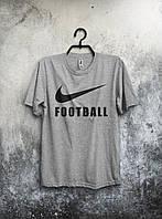 Футболка серая мужская Nike Football Футбол Найк (большой  принт)