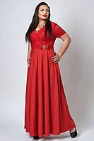 Длинное нарядное женское платье красного  цвета. Размеры 52, 54, 56.
