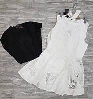Блузка летняя легкая белая и черная Fashion Classic 8028