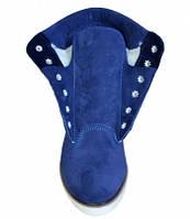 Ботинки на шнуровке женские из натуральной замши