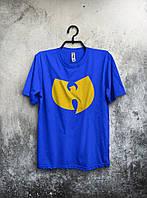 Качественная футболка синяя (большой принт) (РЕПЛИКА)