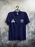 Футболка для парня Adidas Palace Палас Адидас темно синяя (большой принт)