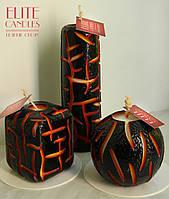 Вогняна свічка ELITE CANDLES набір 3 свічки - кругла, циліндрична і квадратна для очищення будинку