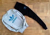 Мужской Спортивный костюм Adidas серый (голубой принт) (РЕПЛИКА)