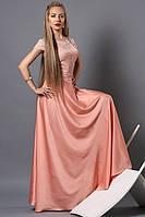 Вечернее длинное женское платье цвет пудра.