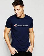 Модная темно синяя футболка Champion Чемпион (большой принт) (РЕПЛИКА)