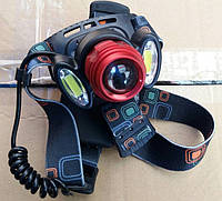 Фонарь налобный Bailong 298 (аккумулятор) 3 LED, ZOOM