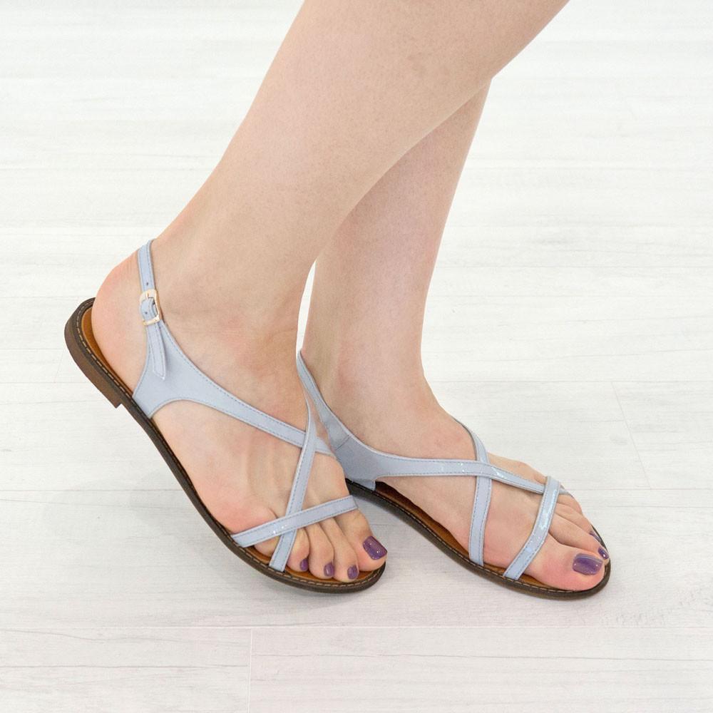 Кожаные сандалии женские 39 размер Woman's heel серо-голубые босоножки с пряжкой