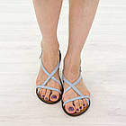 Кожаные сандалии женские 39 размер Woman's heel серо-голубые босоножки с пряжкой, фото 2