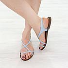 Кожаные сандалии женские 39 размер Woman's heel серо-голубые босоножки с пряжкой, фото 3