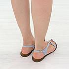 Кожаные сандалии женские 39 размер Woman's heel серо-голубые босоножки с пряжкой, фото 4
