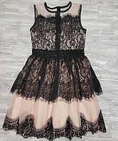 Платье вечернее гипюр шифон  пудра и черное 716