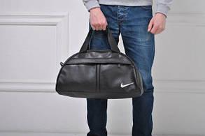Сумка спортивная черная искусственная кожа Найк Nike белый принт (РЕПЛИКА)