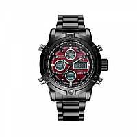 Часы мужские наручные AMST Steelheart+фирменная коробка в подарок black-red