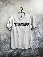 Белая футболка Thrasher Трэшер (большой принт) (РЕПЛИКА)