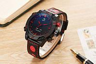 Часы мужские наручные AMST Shark+фирменная коробка в подарок black-red
