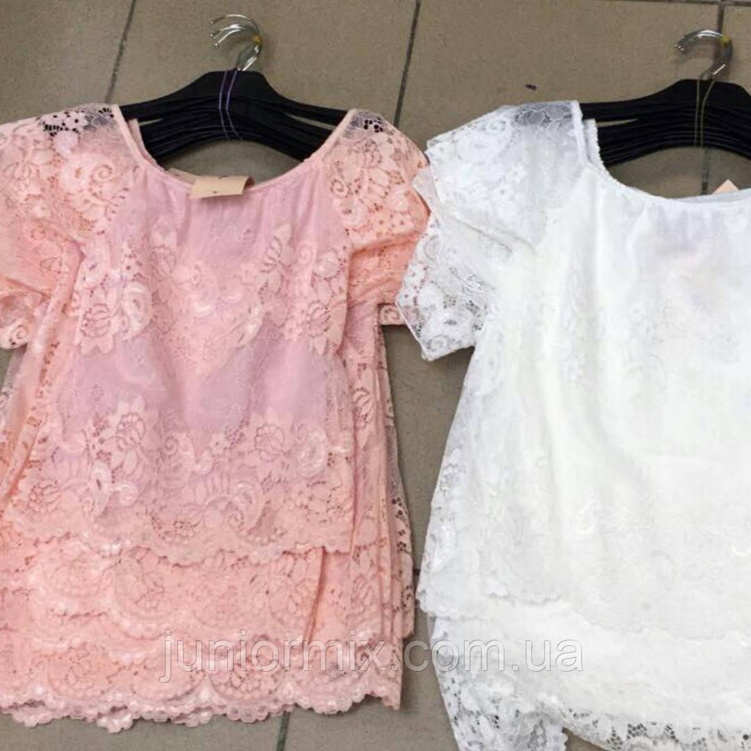 Детская гипюровая блузка для девочек Италия