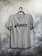 Молодежная серая футболка Asics Асикс мужская  (большой принт)