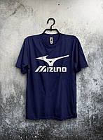 Мужская футболка Mizuno Мизуно темно синяя (большой принт) (РЕПЛИКА)