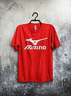 Красная футболка Mizuno Мизуно (большой принт) (РЕПЛИКА)