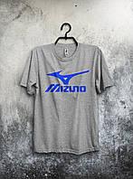 Хлопковая футболка Mizuno Мизуно серая (большой принт) (РЕПЛИКА)
