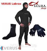 Набор снаряжения для подводной охоты Гидрокостюм 7 мм VERUS Labrax, перчатки, носки 5 мм