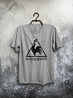 Качественная футболка Le Coq Sportif серая (большой принт) (РЕПЛИКА)