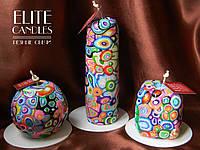 Набор декоративных свечей ELITE CANDLES мастерская резьба, стильный дизайн, неповторимый узор