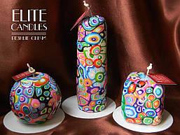 Набір декоративних свічок ELITE CANDLES майстерня різьблення, стильний дизайн, неповторний візерунок