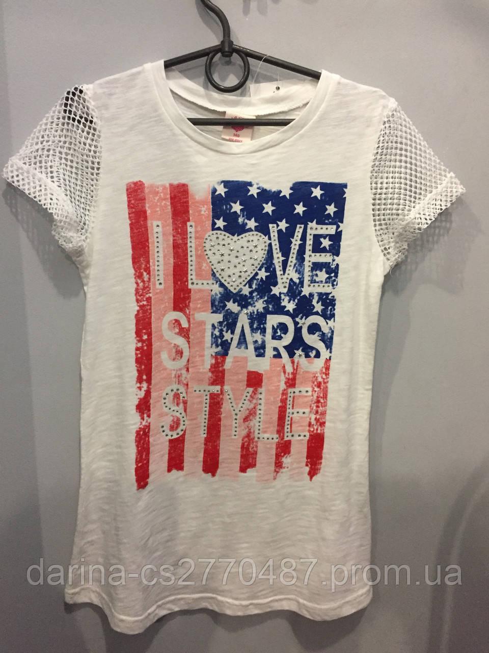 Подростковая футболка для девочки с принтом 164 см