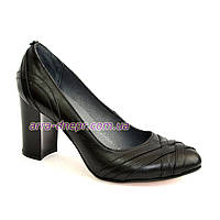 """Кожаные черные женские туфли на высоком устойчивом каблуке с плетением. ТМ """"Maestro"""""""