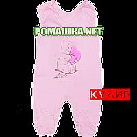 Ползунки высокие с застежкой на плечах р. 56 ткань КУЛИР 100% тонкий хлопок ТМ Алекс 3142 Розовый А