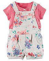 Детский коплект комбинезон и футболка для девочки. ТМ Carters (12м, 18м, 24м)