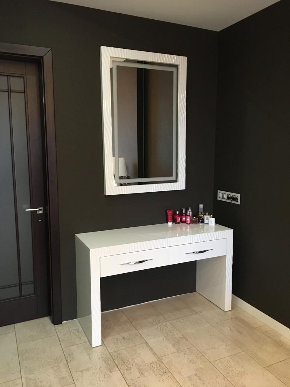 Мебель для спальни белая, туалетный столик с зеркалом и подсветкой