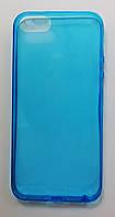 Чехол на Айфон 5/5s/SE тонкий Силикон толщиной 0.5 мм Прозрачный Голубой, фото 1