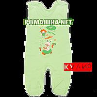 Ползунки высокие с застежкой на плечах р. 56 ткань КУЛИР 100% тонкий хлопок ТМ Алекс 3142 Зеленый А