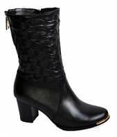 Ботинки женские из натуральной кожи на устойчивом каблуке
