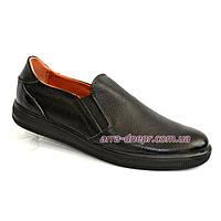 Мужские туфли-мокасины из натуральной черной кожи флотар, на плоской подошве
