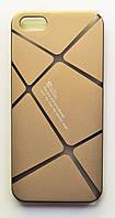 Чехол на Айфон 5/5s/SE Cococ приятный Пластик Линии Матовый Золото, фото 1