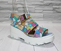 Стильные яркие сандалии на платформе. Натуральная кожа.  1086