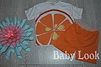 Комплект: футболка и шорты с рисунком апельсин для мальчика