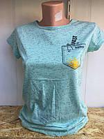 Футболка женская летняя стильная с рисунком карман